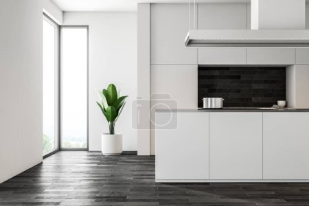 Photo for White wall kitchen interior with a dark wooden floor, white closets and countertops and an island with a sink. Loft windows. 3d rendering mock up - Royalty Free Image