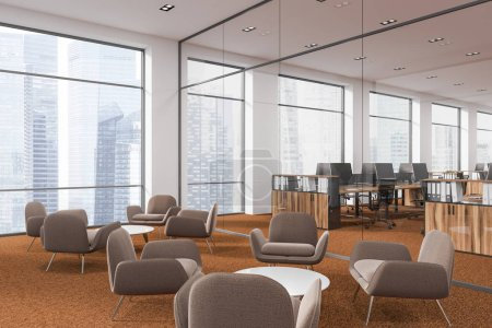 Photo for Modern company waiting room interior with soft beige armchairs standing next to round coffee tables on a brown carpet. Panoramic windows and office in the background. 3d rendering mock up - Royalty Free Image