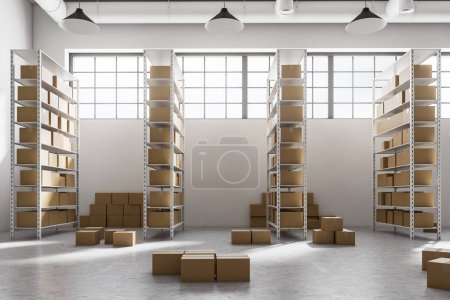 Side view of a warehouse with rows of shelves with cardboard boxes standing on them. Concept of logistics, international shipping and global trade. 3d rendering mock up