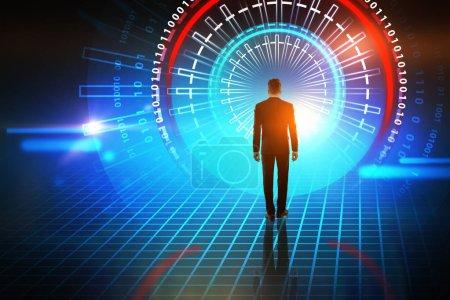 Foto de Vista de un joven empresario en Resumen brillante interfaz de usuario futurista inmersiva en rojo y azul posterior. Concepto de alta tecnología y la innovación. Tonos de la imagen doble exposición imitan para arriba - Imagen libre de derechos