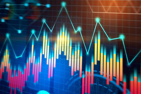 Colorful graph abstract interface background with infographics and data representation. Hud. Concept of hi tech and trading. Toned image double exposure