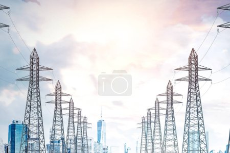 Photo for Row of high voltage steel power line supports over a sky with many clouds. Modern cityscape background. 3d rendering mock up - Royalty Free Image