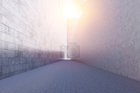 Photo for Narrow passage between two business buildings. Cityscape and blue sky on a warm day. 3d rendering mock up toned image - Royalty Free Image