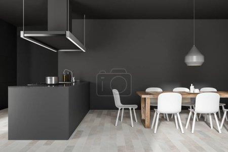 Foto de Interior de cocina de pared gris con un suelo de madera, armarios gris y mesada y una isla con un fregadero. Mesa con sillas. Vista lateral 3d mock de representación por - Imagen libre de derechos