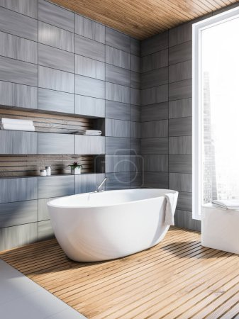Modern gray wooden tiled wall bathroom corner with gray floor, a white bathtub and niches in the wall. Scandi style. 3d rendering mock up