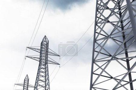 Row of high voltage steel power line supports over a cloudy gray sky. Modern cityscape background. 3d rendering mock up