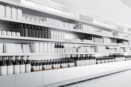 Row of store shelves with mock up bottles and boxes. Concept of marketing, consumption and product placement. Perspective 3d rendering mock up