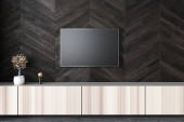 Modern flat screen TV set attached to a black wooden wall of a living room. A wooden set of drawers with a small bonsai tree under it. Interior design ideas concept. 3d rendering mock up