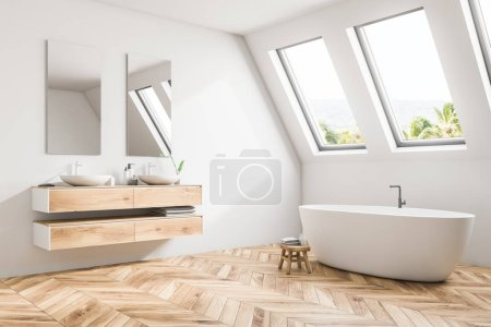 Luxury attic bathroom corner in a minimalism style mansion with a wooden floor, white walls, a double sink and a large bathtub. Relaxation and self care concept. Close up. 3d rendering mock up