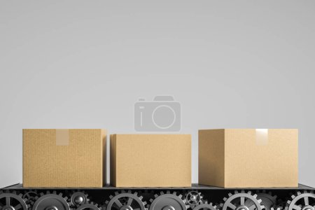 Photo for Closed cardboard boxes on conveyor belt over gray background. Delivery, logistics and product shipment concept. 3d rendering mock up - Royalty Free Image