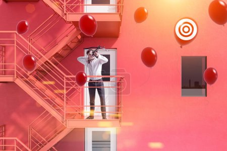 Businessman with crossbow shooting red balloons with target sign standing on emergency stairs of a red building. Successful startup project concept. 3d rendering mock up toned image