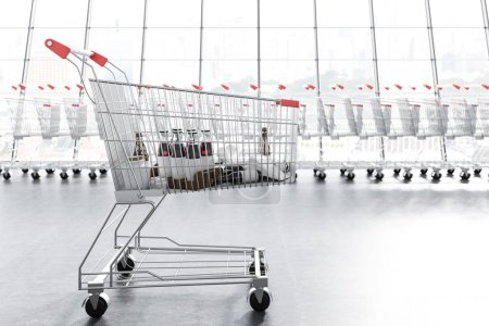 Supermarket trolley with mock up products over long supermarket carts row standing along a panoramic window. Concept of marketing and consumerism. 3d rendering copy space