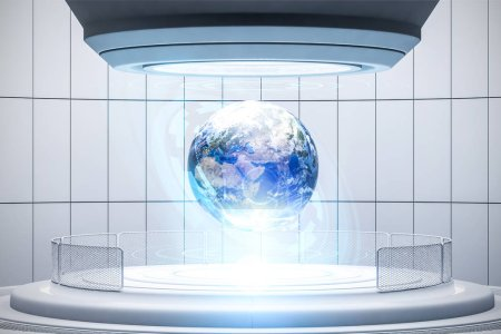 Earth in holographic chamber, teleportation room or terraforming interface. Concept of future of science and sci fi. 3d rendering toned image double exposure Elements of this image furnished by NASA