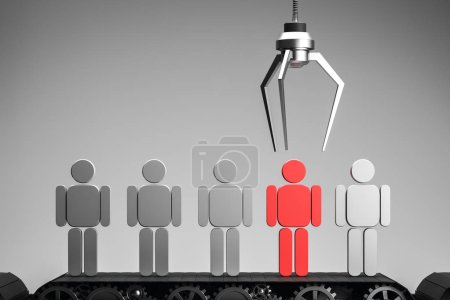 Fork picking up red human figure standing among gray figures on a conveyor belt over gray background. Concept of choice, hr and the right person for job. 3d rendering copy space