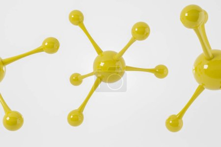Photo for Yellow abstract molecule models over white backdrop. White word science. Concept of science, medicine, technology and business. 3d rendering mock up - Royalty Free Image