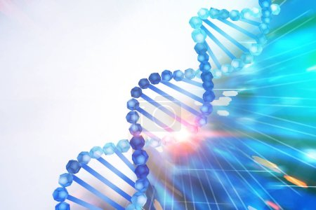 Photo for Blue diagonal dna helix over white and abstract blue background. Biotech, biology, medicine and science concept. 3d rendering mock up toned image - Royalty Free Image