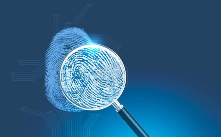 Magnifying glass over big blue fingerprint interface over blue with circuits around it. Concept of hi tech, match and identification. 3d rendering copy space toned image double exposure