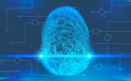 Fingerprint and circuits interface over blue background. Concept of hi tech and identification. 3d rendering copy space toned image double exposure