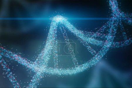 Photo pour Hélice d'ADN des particules bleues et rouges lumineux sur fond bleu foncé. Concept de génétique, de science et de médecine. Biotech. espace de copie de rendu 3D aux tons d'image - image libre de droit