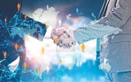 Two businessmen shaking hands over world map with network interface. Global world international trade concept Toned image double exposure mock up Elements of this image furnished by NASA