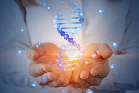 Photo for Unrecognizable woman with blond hair holding blue dna helix hologram. Biotech, biology, medicine and science concept. Double exposure toned image - Royalty Free Image