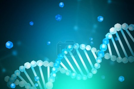 Blue white diagonal dna helix with parts of it scattered around over blue green blurred background. Biotech, biology, medicine and science concept. 3d rendering mock up toned image