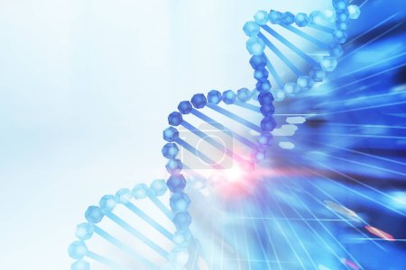 Photo for Blue diagonal dna helix over white and abstract dark blue background. Biotech, biology, medicine and science concept. 3d rendering mock up toned image - Royalty Free Image