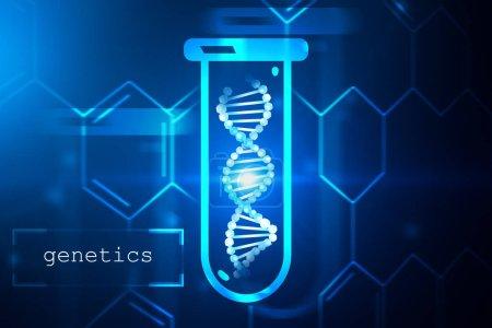 Photo pour Bleu hélice d'ADN dans le tube à essai sur fond bleu foncé avec carbone atomique grille texte génétique et dans le coin gauche. Concept de biotechnologie, biologie, médecine et sciences. maquettes 3D rendu image tonique - image libre de droit