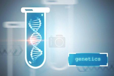 Photo pour Blanc hélice d'ADN dans une éprouvette bleue sur fond gris avec génétique de texte dans le coin droit. Concept de biotechnologie, biologie, médecine et sciences. maquettes 3D rendu image tonique - image libre de droit