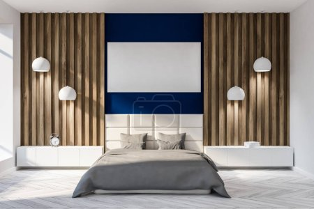 Photo for Modern bedroom interior with dark blue and wooden walls, a gray master bed and two nightstands. 3d rendering Horizontal mock up poster - Royalty Free Image