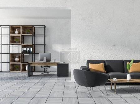 Photo for Luxury home office or manager office with white walls, white wooden tile floor, a computer table, a bookcase, a sofa with an armchair and a coffee table. 3d rendering copy space - Royalty Free Image