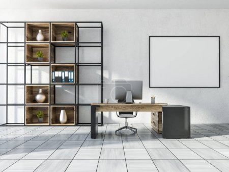 Luxury manager office interior with white walls, white wooden tile floor, a computer table, and a bookcase. 3d rendering Horizontal mock up poster frame