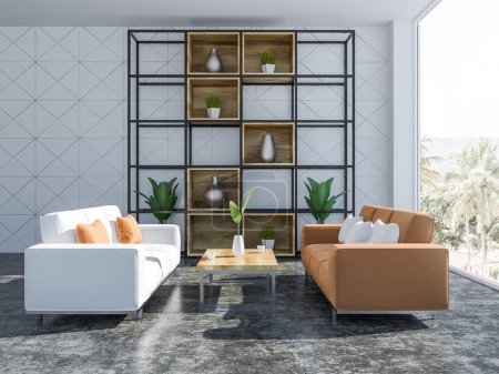 White geometric wall pattern living room interior with concrete floor, and a closet with vases and potted plants. White and orange sofas and coffee table 3d rendering