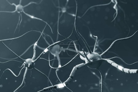 Gray neurons with glowing segments over gray background. Neuron interface and computer science concept. Close up 3d rendering copy space