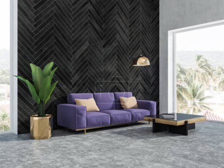 Photo for Black wood living room interior with a concrete floor, a purple sofa, loft window and a stylish coffee table. 3d rendering copy space - Royalty Free Image