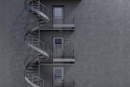 Photo pour Mur de maison grise avec escalier d'évacuation en spirale gris. Un faux mur. Concept de publicité et d'avoir une échappatoire dans les affaires et la vie. Rendu 3d - image libre de droit