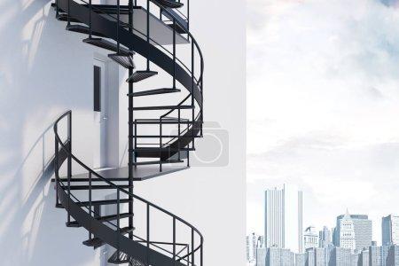 Photo pour Vue latérale du mur de la maison blanche avec escalier en colimaçon gris. Concept d'avoir une échappatoire dans les affaires et la vie. Rendu 3d - image libre de droit