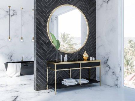 Photo pour Vue latérale de l'intérieur de la salle de bain en marbre blanc et en bois noir avec une baignoire noire, un miroir rond au-dessus d'un meuble-lavabo noir avec des crèmes et des bougies et plusieurs plafonniers. Loft fenêtre rendu 3d - image libre de droit