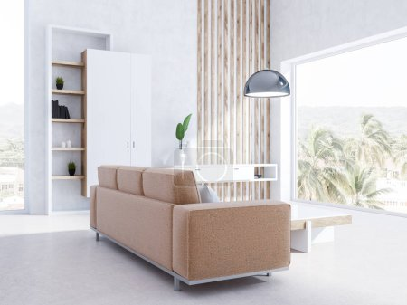 Photo for White living room interior with panoramic windows, a beige sofa, stylish coffee table, a bookcase and a closet. An original table and a ceiling lamp. 3d rendering - Royalty Free Image