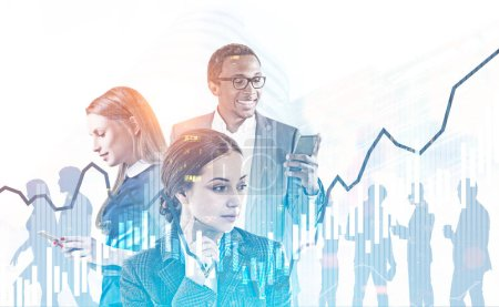 Photo for Successful diverse business team managers with gadgets over blurred cityscape. Graphs and immersive interface foreground. Hi tech and fintech concept. Toned image double exposure mock up - Royalty Free Image
