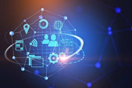 Foto de Azul internet y wifi los iconos dentro del holograma de la red sobre azul oscuro con el bosquejo de la red. Concepto de red mundial de información en los negocios y la vida. 3D representación copia espacio doble exposición tonos de imagen - Imagen libre de derechos