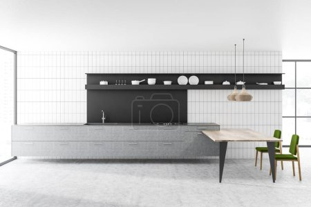 Kitchen interior with white tile and gray walls, hexagonal pattern floor, gray countertops with built in appliances and black shelf with dishes. Wooden table with green chairs. 3d rendering copy space