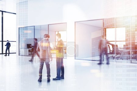 Photo for Business people talking and walking in a stylish company office with meeting room. Concept of corporate lifestyle. Toned image double exposure blurred - Royalty Free Image