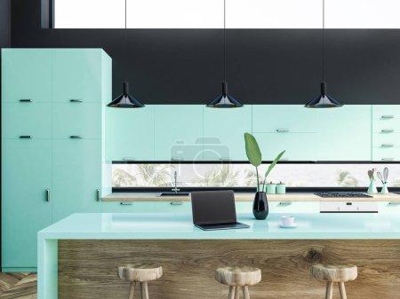 Photo pour Intérieur de cuisine avec des murs gris, bleus comptoirs avec construit dans les appareils et table et chaises en bois. rendu 3D - image libre de droit