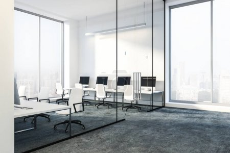 Lobby of a modern office with white walls, glass doors and white computer tables on gray floor. Mock up 3d rendering