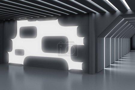 Photo pour Intérieur futuriste gris brillant de lobby de bureau de mur. Concept d'idées de design et d'architecture. Rendu 3d - image libre de droit