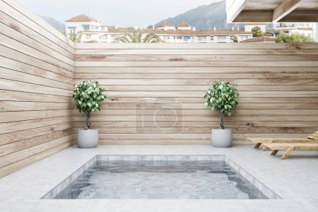 Two deck chairs standing near small private pool of luxury villa with wooden walls. Luxury lifestyle concept. 3d rendering