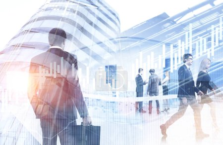 Photo for Diverse business team members communicating standing over cityscape bakcground. Forex graphs foreground. Stock market concept. Toned image double exposure - Royalty Free Image