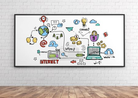 Whiteboard with colorful internet icons hanging in white brick room with wooden floor. Hi tech concept.