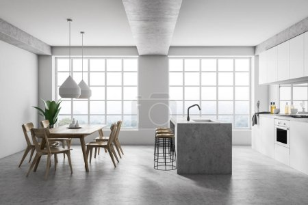 Interior of modern kitchen with white walls, concrete floor, white countertops, an island, a table with chairs and two large windows. 3d rendering